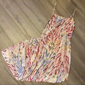 Love, Fire feather print maxi dress